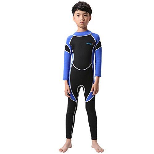 ESHOO Jungen Mädchen Neoprenanzug Einteilige lange Ärmel Surfen Schnorcheln Bademode Bodysuit Schnell trocknen Badeanzug