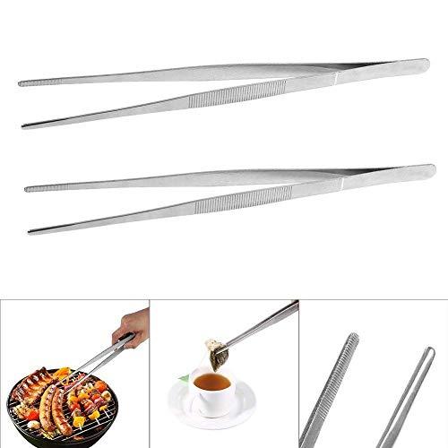 Pinzettenzange - Bestgift Kochgeschirr Precision Edelstahl Silber Long Essenzzange Straight Home Medical Pinzette (2Pcs)