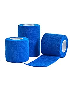 CMS Medical 5 cm x 4.5 m Blue Cohesive Bandage - Pack of 3
