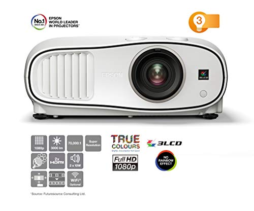 Epson EH-TW6700 Projektor (Full HD, 3000 Lumen, 70.000:1 Kontrast, 3D, 1,6x fach Zoom, mit Lautsprecher)