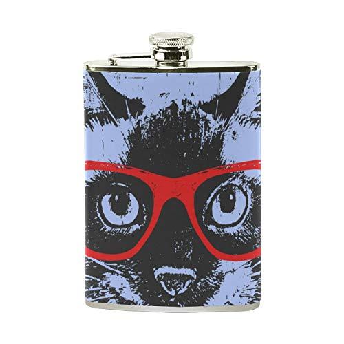 Lafle Siamesische Katze mit Brille, aus Edelstahl und PU-Leder für Herren, tragbar, für Whiskey und Camping, Wandern, Outdoor-Sport, 227 ml