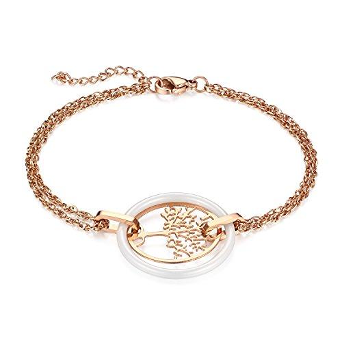 JewelryWe Schmuck Damen Armband, Edelstahl Hohle Baum des Lebens Armkette Charms Armreif mit Keramik Kreis Ring, verstellbare Größe, Weiß Rosegold
