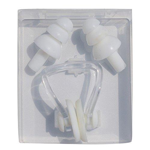 Naisidier Stöpsel Ohren und Nase für Erwachsene Schwimmbrille für Männer und Frauen-Clips, PVC, Silikon, Weiß