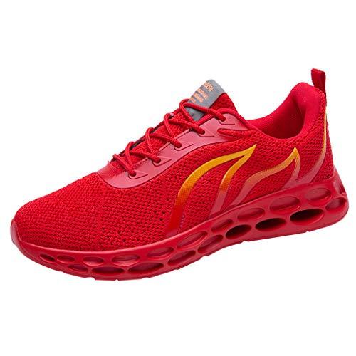 KnowinSommer Atmungsaktive Sneakers Leichte, rutschfeste Laufschuhe mit weichem Boden Herren Sneaker Mode Freizeit Schuhe rutschfeste Joggingschuhe Athletic Flat Running Mesh Schuhe