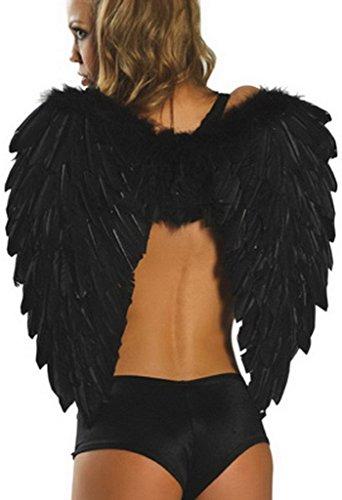 Y-BOA 1 Paire d'Ailes Déguisement Halloween Plume Ange Femme Fille 65cm (Noir)