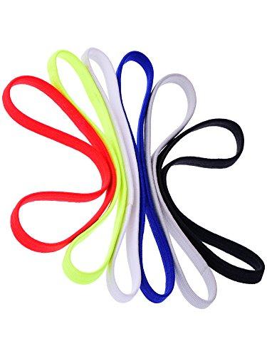 6 Stück Elastische Sport Stirnbänder Yoga Stirnbänder Kopf Schweißband für Damen und Männer, 6 Farben