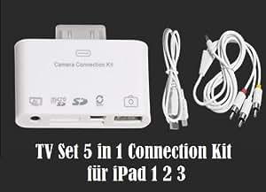 Kit de connexion 5 en 1 pour l'iPad Apple, avec port audio & vidéo (AV-Out Composite), ports USB2.0 et mini USB, ports carte SD et micro SD, càble de connexion audio & vidéo et micro USB inclus. (Ces connexions fonctionnent également sur iPod, iPod Touch et iPhone.)