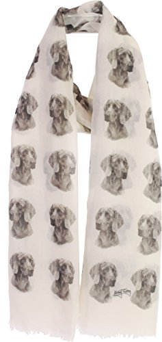 Weimaraner Fashion Design Limited Edition Ladies Scarf - Exclusive Mike Sibley Fashion Scarf Signature Collection - Perfect Gift for Any Dog Lover - Hand Printed in the UK