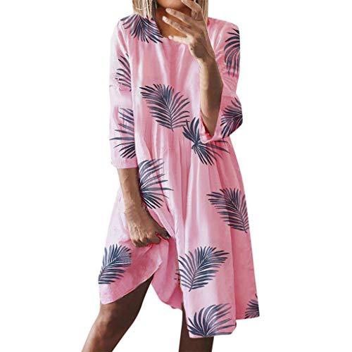 Fenverk Damen Blumendruck Urlaubsstil Strand-Kleid Maxikleider Sommerkleid Blumen Strandkleid Lange Kleid Partykleid S-XXXXXL(A Rosa,M) -