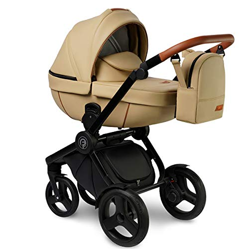 Krausman Kinderwagen 3 in 1 Topaz Lux Beige Kombikinderwagen Babyschale Babywanne Sportwagen Design Made In Germany