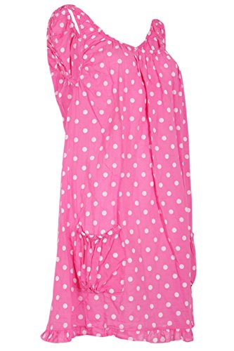 Catch Fashion Damen Sommerkleid Knielang Baumwoll Tunika Freizeitkleid Träger Kleid Ärmellos A Form Polka Dots Punkte Muster Pink