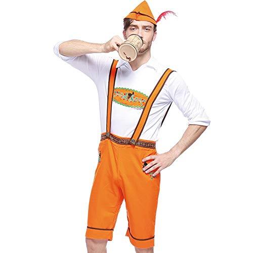 ToDIDAF Bayerisches Oktoberfest 3-teiliges Set Herren Lätzchen + Kurzarm Top + Hut Barkeeper Kostüme Orange M (Lustige Barkeeper Kostüm)