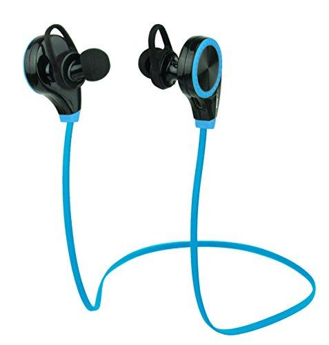 Duhud, cuffie intrauricolari bluetooth 4.0, antitraspiranti, con microfono integrato, adatte per allenamenti, corsa, jogging, escursionismo, d06rq8, blue