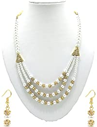 MDS Three Layer White Artificial Pearl & Stone Balls Necklace And Earring Set For Beautiful Women (MDS-1040)