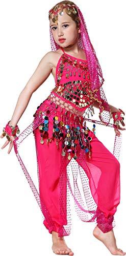 Seawhisper Bauchtanz Kostüm Kinder Mädchen Indische Bauch Tanzkostüm Fasching Kostüm Hose Oberteil Pink