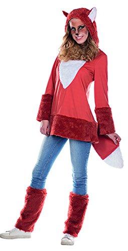 men Kleid Stulpen Tierkostüm Fuchs Fasching Kapuzenkleid (44) (Fuchs Kostüm Erwachsene)