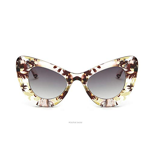 YOURSN Cat Eye Sonnenbrille Brille Frauen Butterfly Frame Design Sonnenbrille Uv400 Brille Sonnenbrille-Clear Flower