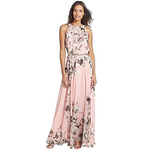 Andy's Share, Damen Armlos Lang Maxi floraler Print Abendkleid Strandkleid mit Gürtel (Kleid Griechische Muster)