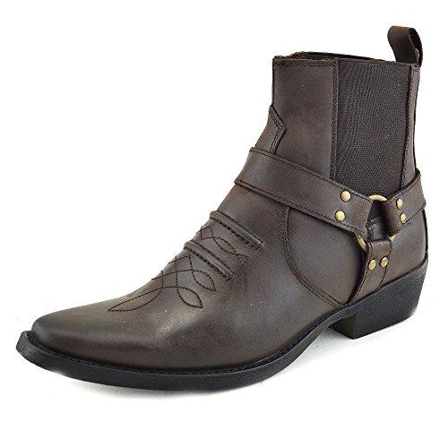 Herren Cowboy Leder Ankle Biker Western Stiefel - UK 10 / EU 44, (Western Cowboy Stiefel)