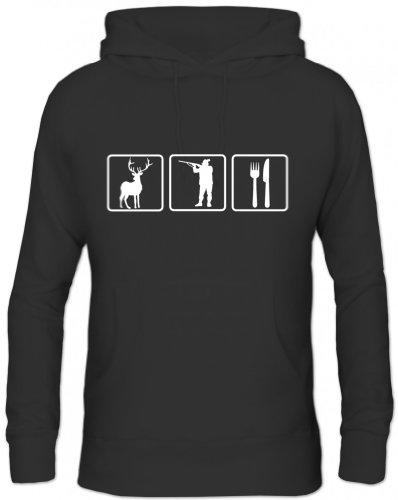 Shirtstreet24, TRIATHLON JAGEN, Schützenkönig Jäger Jagd Herren Kapuzen Sweatshirt Hoodie - Pullover, Größe: XL,Schwarz