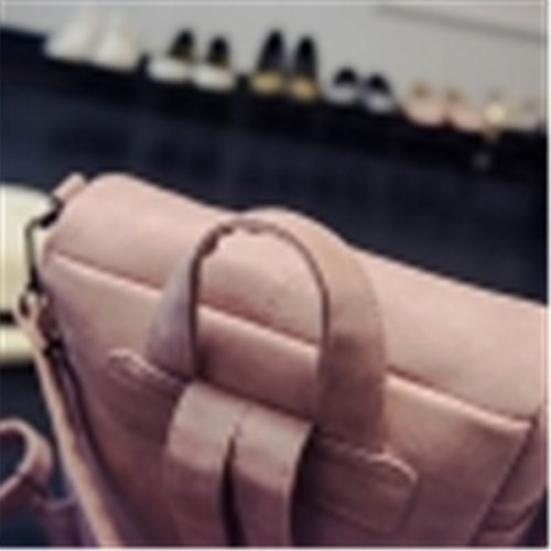 OURBAG Damen Groß PU-Leder Rucksack Modische Umhängetasche Mehrzweck- Rucksack mit Niet Schultasche für Mädchen Rosa Rosa