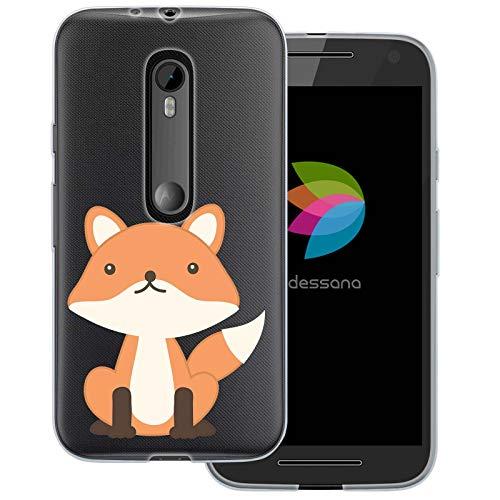 dessana Comic Füchse Transparente Schutzhülle Handy Case Cover Tasche für Motorola Moto G3 Comic Fuchs (Handy Cover Für G3)