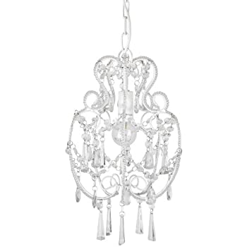 Modern cream white shabby chic chandelier pendant light fitting modern cream white shabby chic chandelier pendant light fitting with beautiful decorative clear beads jewel droplets complete with 1 x 4w led ses e14 mozeypictures Images