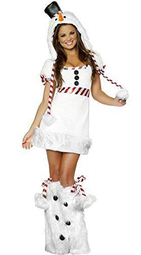 MissFox Frauen Weihnachts Santa Skleid Cosplay Party Kostüm Weiß (Santa Kostüme Für Damen)