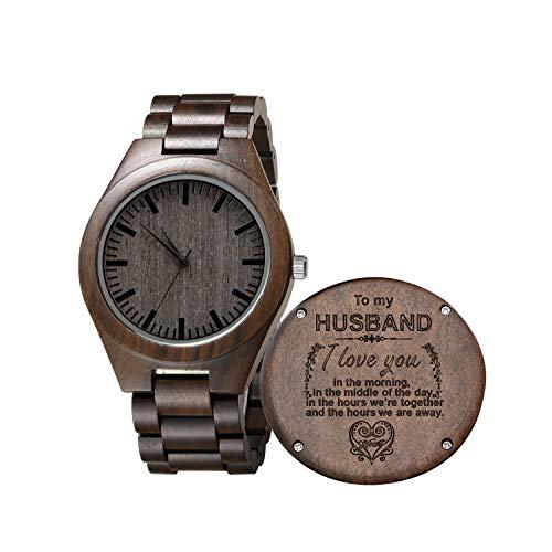Gravierte Holz Uhren für Männer, Nussbaum Ebenholz Herrenuhr mit Japanischen Quarzwerk Custom Watch Jubiläumsgeschenk für Papa (Für die Frau) -