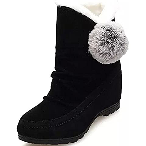 Minetom Mujer Invierno Botas De Nieve Talón Plano Altura Creciente Algodón Botas Lindo Pom Poms Zapatos