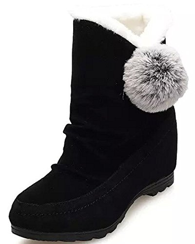 Minetom Donna Inverno Stivali Da Neve Piatta Altezza Crescente Cotone Boots Carino Pom Poms Scarpe Stivali Nero EU 37