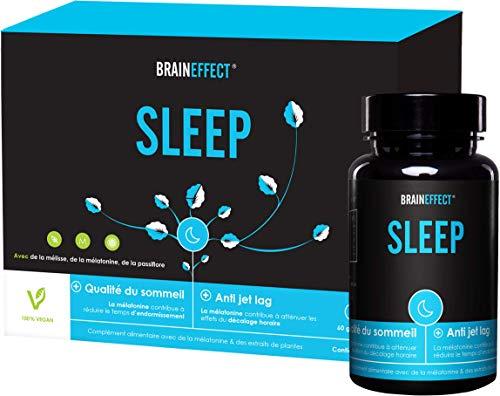 BRAINEFFECT SLEEP   1mg Mélatonine par dose quotidienne   60 capsules   Somnifère natural   Avec de la passiflore et de la mélisse   Végan   Sans sel de magnésium