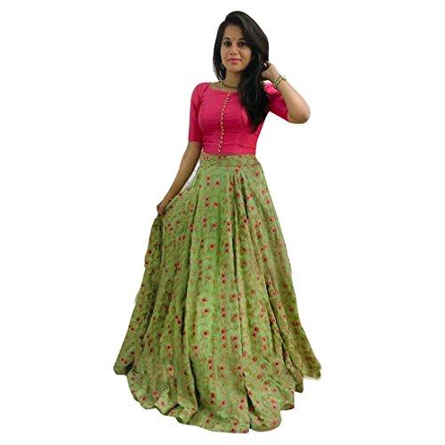 Varudi Fashion Pink & Green Banglori Satin Lehenga Choli For Women (Free Size)