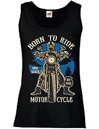 lepni.me Camisetas Sin Mangas Para Mujer Live Young - Die Free - Nacido Para Montar EN Moto, Ideas de Regalos Para Ciclistas, Lemas inspiradores