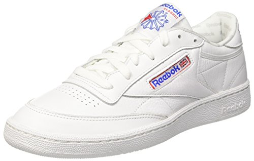 Solid White Herren Schuh (Reebok Herren Club C 85 So Gymnastikschuhe, Elfenbein (White/LGH Solid Grey/Vital Blue/Prml Red/Blk), 45.5 EU)