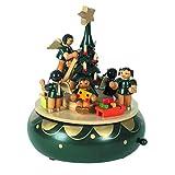 OBC Spieluhr Engel-Bescherung grün-Natur 19cm, Weihnachtslied Oh Tannenbaum/Spieldose Holz Handbemalt Erzgebirge-Stil/Deko Advent & Weihnachten