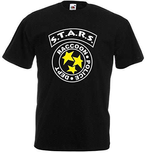 Stars Raccoon City Police, Resident Evil inspirert Mann Gedruckt T-Shirt - schwarz/weiß/gelb XL= 116/121 cm (Police Schwarz Gedruckt)