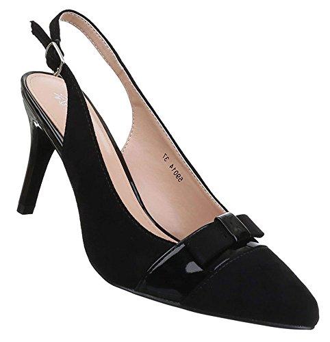 Damen Pumps Schuhe High Heels Stiletto Abendschuhe Schleife Schwarz 36 37 38 39 40 41 Schwarz