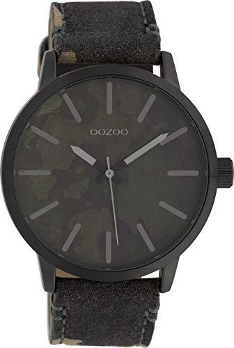 Oozoo Herrenuhr mit Lederband 45 MM Black/Camouflage Dunkelgrün/Camouflage C10004