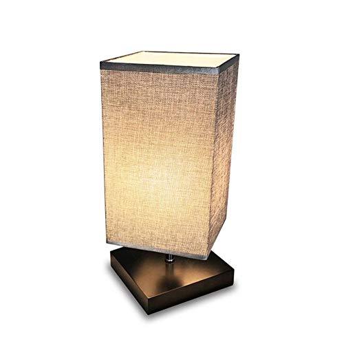 Yankan semplice lampada da tavolo, retro in legno massello e tessuto ombra illuminazione stile relax per mdf comodino, lampada da scrivania contemporanea livi ng camera, studio, baby room (piazza)