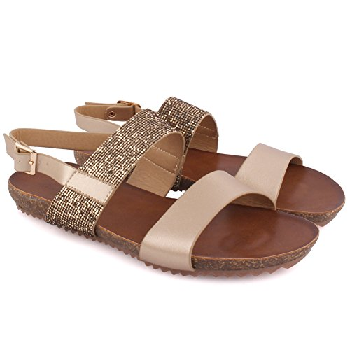 Unze New Women 'Edie' Glittered Double Strap été Beach Party Get Together Carnaval School Casual Sandales plates UK Taille 3-8 Or