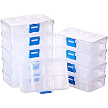 BENECREAT 10 Pack 8 Compartimientos Joyeros Divisores Organizador de Caja Caja de Cuentas de Plástico Transparente