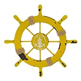 Nautical Beach Wooden Boat Ship Wheel Rudder Home Wall Hanging Decor 4 Colors - yellow