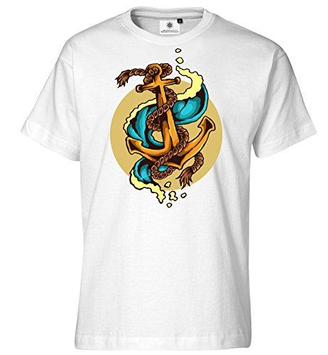ttoo T-Shirt Vintage Anker (4XL, Weiß) ()