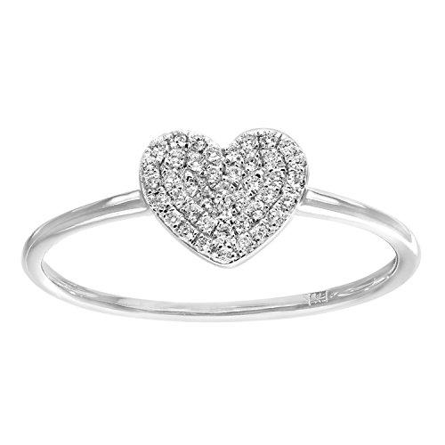 Naava - Anello in oro bianco (18k) con pavé di diamanti (0,13ct) a forma di cuore, misura 12