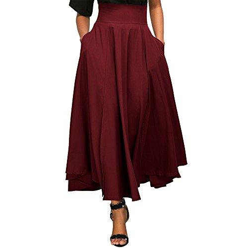 Uranus Damen Übergröße Retro Hohe Taille Bogenknoten Swing Party Formell Langer Maxi Rock Kleid Rot