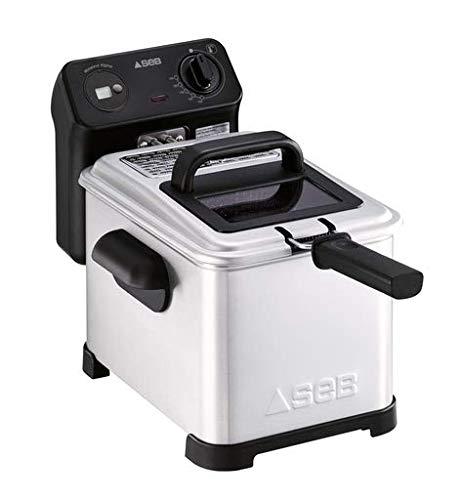 SEB Friteuse Semi Tefal FR501000 Family Pro 3L Zone Froide + hublot de contrôle + minuteurDigital + Thermostat réglable, 2400 W, 3 liters, Noir, Acier Inoxydable