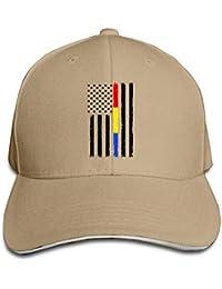 Xukmefat Thin Red Blue Gold Line Flag Men   Women Adjustable Snapback  Peaked Trucker Cap Baseball 8df5d06e706