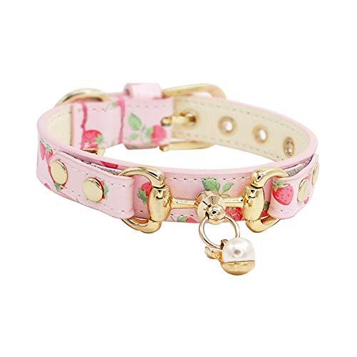 Luxus Leder Hundehalsband, handgefertigte verstellbare weiche Echtlederhalsband in Pink und Beige mit Erdbeer-Muster für kleine mittlere große Hunde (größe : M)