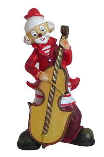 Niedliche Dekofigur ~ Musik Clown ~ Karneval Köln Harlekin Deko Figur Pauke Bass (Modell: mit Kontrabass)